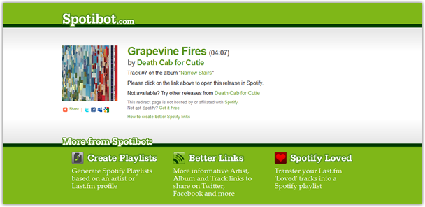 Improved Spotibot Spotify link to Death Cab for Cuties' 'Narrow Stairs'